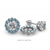 Aquamarine Halo Jacket for Stud Earrings 0.60 ct tw in 14K White Gold