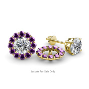 Amethyst Halo Jacket for Stud Earrings 0.54 ct tw in 14K Yellow Gold