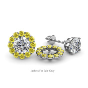 Yellow Sapphire Halo Jacket for Stud Earrings 0.57 ct tw in 14K White Gold
