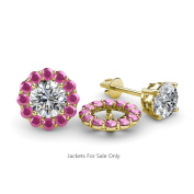 Pink Sapphire Halo Jacket for Stud Earrings 0.57 ct tw in 14K Yellow Gold