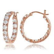Sterling Silver Cubic Zirconia Inside Out 3x25 mm Round Hoop Earrings