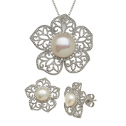 Freshwater Cultured Pearl & 1/4 ct Diamond Flower Pendant & Earring Set in Sterling Silver