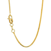 """JewelStop 10k Solid Gold Yellow White & Rose 0.45mm Box Chain Necklace, Lobster Claw - 18"""""""