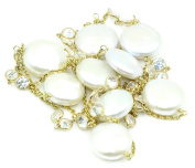 Cubic Zirconia & White Coin Pearl 90cm Necklace ,14K Yellow Gold Cable Chain