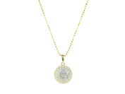 18k Gold Plated Sterling SIlver Brilliant Circle Pendant Necklace, 41cm