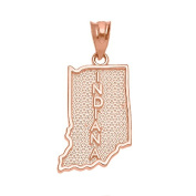 Indiana State IN Map Charm Pendant in 10k Rose Gold