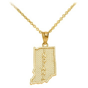 Indiana State IN Map Pendant Necklace in 10k Yellow Gold
