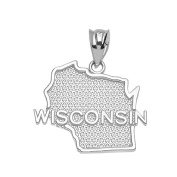 Wisconsin State WI Map Charm Pendant in 14k White Gold