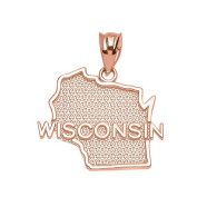 Wisconsin State WI Map Charm Pendant in 14k Rose Gold