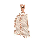 Mississippi State MS Map Charm Pendant in 10k Rose Gold
