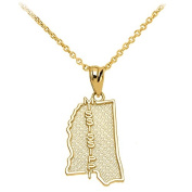 Mississippi State MS Map Pendant Necklace in 10k Yellow Gold