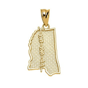 Mississippi State MS Map Charm Pendant in 14k Yellow Gold