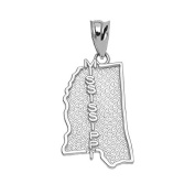 Mississippi State MS Map Charm Pendant in 10k White Gold