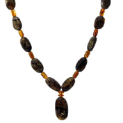 Beaded Dark and Light Amber Necklace