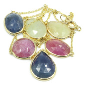Multi-Colour Sapphire 41cm Lariat Necklace with 14k Yellow Gold Cable Chain
