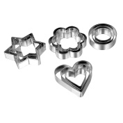 HooAMI Stainless Steel Heart Star Flower Round Cookie Cutters Set