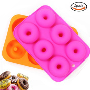 LoveS (2pcs) 6-Cavity Silicone Donut Baking Pan/Non-Stick Donut Mould, Dishwasher, Oven, Microwave, Freezer Safe
