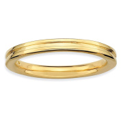 Sterling Silver Stackable Expressions Gold-plated Grooved Ring