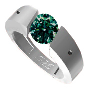 RINGJEWEL 1.48 ct VS1 Round Real Moissanite Solitaire Engagement Silver Plated Ring Green Colour Size 8