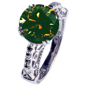 RINGJEWEL 4.42 ct SI2 Round Real Moissanite Solitaire Engagement Silver Plated Ring Green Colour Size 7