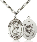 Sterling Silver Catholic Saint Military Medal Pendant, 2.5cm