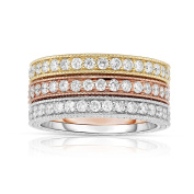 Noray Designs 14K White, Yellow & Rose Gold (2.10 Ct, G-H, SI2-I1 Clarity) Miligrain Stackable Ring Set