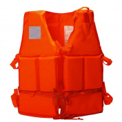 Ezyoutdoor Orange Life Jacket Vest Lightweight Multi-function Foam Reflective Foam Swimming Life Jacket Vest + Lifesaving Whistle for Child