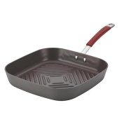 Rachael Ray Cucina Hard-anodized Nonstick 28cm Grey with Cranberry Red Handle Deep Square Grill Pan