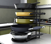 #1 Premium Heavy Duty Pan Organiser - Bottom Tier 2.5cm Taller for Larger Pans - No Assembly Required - Black
