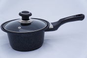 """Home N Kitchenware Collection 6.3""""(16cm) Marble Coated Sauce Pan Pot Wok w/ Glass Lid (1.9l), Extreme Non-Stick, 5 Layer Marble Coating"""
