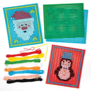 Christmas Picture Cross Stitch Card Kits for Children to Make and Display for Xmas - Creative Craft Toy for Kids and Beginners