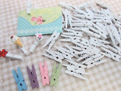 50 Mini Wooden Clothespin Craft Baby Shower Favours/embellishment/girl B123-White US Seller Ship Fast