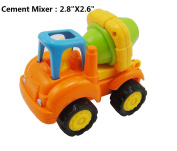 5 IN 1 Cartoon Friction Powered Engineering Truck for Toddlers - Dump Truck, Cement Mixer, Bulldozer, Tractor