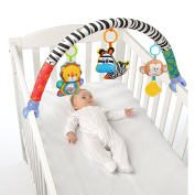X-star Baby Travel Play Arch Pram/Crib Accessory,Cloth Animmal Toy and Stroller Activity Bar with Rattle/Squeak/Teethers