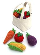 Cheengoo Organic Bamboo Crocheted Bag of Veggie Rattles Set of 4