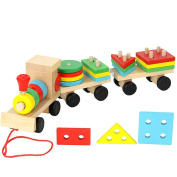 SUNONE11 Wooden Geometry Train Shape Jigsaw Puzzles Peg Puzzles for Toddlers Games Toys Learning Education Early Development Sorting Stacking Stacker