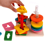 Babrit Wooden Column Shapes Stacking Toys Geometric Sorting Building Blocks for Baby Kids