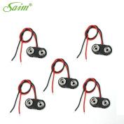 Saim 5Pcs I Type 9V Battery Clip Hard Shell Connectors Buckle Cable Lead
