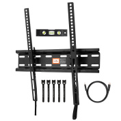 Perlegear Tilting Low Profile TV Wall Mount Bracket for Most 23-55 Inch LED, LCD, OLED and Plasma Flat Screen TVs with VESA up to 400x400mm - Bonus HDMI Cable, Bubble Level and Cable Ties
