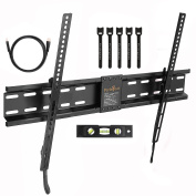 Perlegear Tilt Low Profile TV Wall Mount Bracket for Most 80cm - 180cm LED, LCD, OLED and Plasma Flat Screen TVs with VESA Patterns up to 600 x 400 - Includes HDMI Cable,Bubble Level & Cable Tie