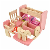 Soledi Delicate House Furniture Pink Wooden Dolls Toy Miniature Baby Nursery