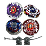 Beyblade Combo 4 Pack Aquila + Meteo Ldrago Assault + Bakushin White + Astro Pegasus with 2x LL2 Launcher and Rip Cord // SHIPPED AND SOLD FROM US