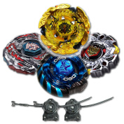Beyblade Combo 4 Pack Hell Kerbecs + Mercury Anubis Blue + Variares + Drago Destroy Black with 2x LL2 Launcher and Rip Cord // SHIPPED AND SOLD FROM US