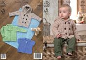 King Cole Baby Aran Knitting Pattern Kids Hooded Coat Jacket & Lacy Short Sleeve Cardigan 3724
