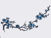 Emmas Two Asian Cherry Blossom Sakura Flower Iron on Embroidered Appliques Patch Japanese Chinese