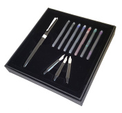 Kentaur Calligraphy Fountain Pen Set (Black) Bundle with 3 Nibs and 7 Ink cartridges