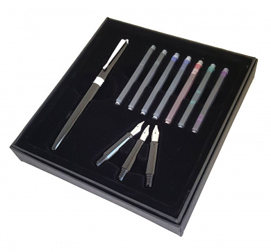 Kentaur Calligraphy Fountain Pen Set (Black) Bundle with 3 Nibs and 7 Ink cartridges