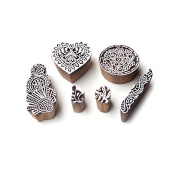 Heart and Round Contemporary Pattern Wood Block Print Stamps