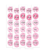 Pink Ribbon Breast Cancer Hope Stickers 50 Pack