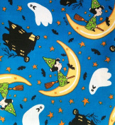 "1/2 Yard - Peanuts ""Lucy's Haunted House"" on Blue Halloween Fabric (Great for Quilting, Sewing, Craft Projects, Throw Pillows & More) 1/2 Yard X 110cm Wide"